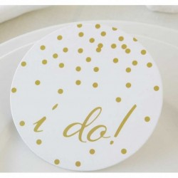 "Posavasos ""I do"" 10cm. set/12pc."